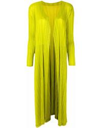 Abrigo Amarillo Verdoso de Pleats Please Issey Miyake