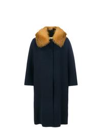 Abrigo con cuello de piel azul marino de Ava Adore