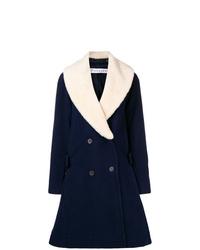 Abrigo con cuello de piel azul marino de JW Anderson