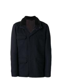 Abrigo con cuello de piel azul marino de Manzoni 24