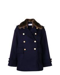 Abrigo con cuello de piel azul marino de RED Valentino
