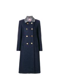 Abrigo con cuello de piel azul marino de Thom Browne