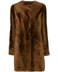 Abrigo con cuello de piel en marrón oscuro de Drome