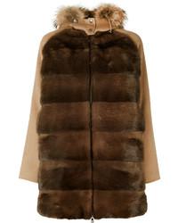 Abrigo con cuello de piel en marrón oscuro de P.A.R.O.S.H.