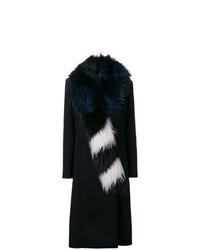 Abrigo con cuello de piel en negro y blanco de Off-White