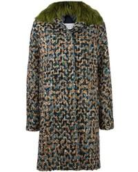 Abrigo con cuello de piel en verde azulado de Maison Margiela