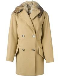 Abrigo con cuello de piel marrón claro de MICHAEL Michael Kors