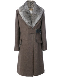 Abrigo con cuello de piel marrón de Maison Margiela