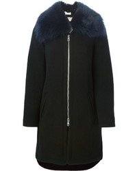 Abrigo con cuello de piel negro de Chloé