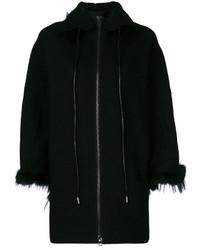 Abrigo con cuello de piel negro de Ermanno Scervino