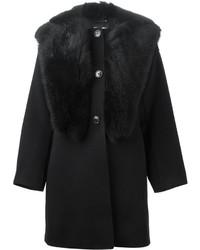 Abrigo con cuello de piel negro de Giorgio Armani