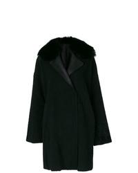 Abrigo con cuello de piel negro de Guy Laroche
