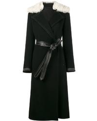 Abrigo con cuello de piel negro de Helmut Lang