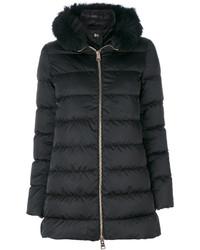 Abrigo con cuello de piel negro de Herno