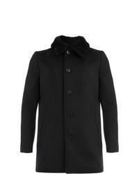 Abrigo con cuello de piel negro de Saint Laurent
