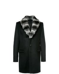 Abrigo con cuello de piel negro de Yves Salomon Homme