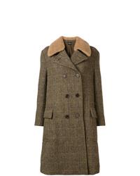 Abrigo con cuello de piel verde oliva de Aspesi