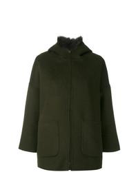 Abrigo con cuello de piel verde oliva de Liska
