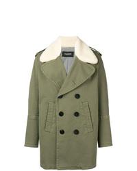 Abrigo con cuello de piel verde oliva de Neil Barrett