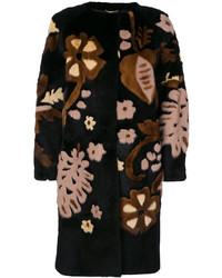 Abrigo con print de flores negro de Alberta Ferretti