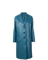 Abrigo de cuero azul de Prada