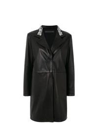 Abrigo de cuero con adornos negro de Simonetta Ravizza
