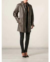 Abrigo de cuero en marrón oscuro de Gianfranco Ferre Vintage