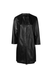 Abrigo de cuero negro de Drome