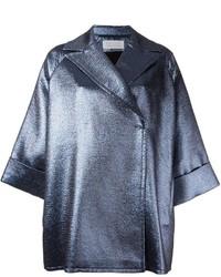 Abrigo de cuero plateado de Gianluca Capannolo