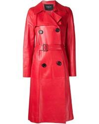 Abrigo de cuero rojo de Derek Lam