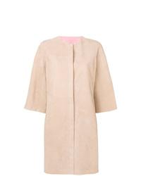 Abrigo de cuero rosado de Drome
