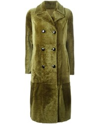 Abrigo de cuero verde oliva