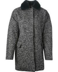Abrigo de espiguilla en gris oscuro