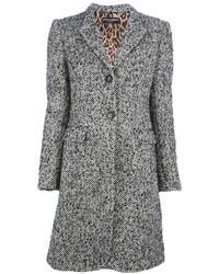 Abrigo de Espiguilla Gris de Dolce & Gabbana
