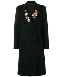 Abrigo de Flores Negro de Dolce & Gabbana