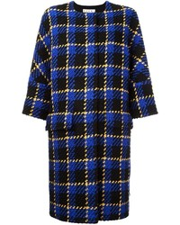 Abrigo de lana rizada de tartán azul de Marni