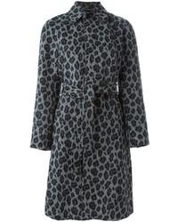 Abrigo de leopardo gris de Saint Laurent