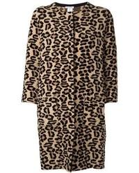 Abrigo de leopardo marrón claro de Oscar de la Renta