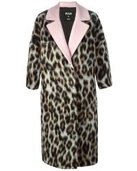 Abrigo de leopardo marrón de MSGM