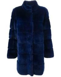 Abrigo de piel azul marino de P.A.R.O.S.H.