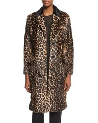 Abrigo de piel de leopardo en marrón oscuro