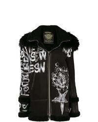 Abrigo de piel de oveja bordado negro de Mr & Mrs Italy