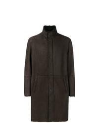 Abrigo de piel de oveja en marrón oscuro de Emporio Armani