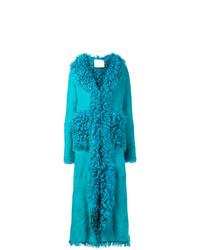 Abrigo de piel de oveja en turquesa de Giada Benincasa