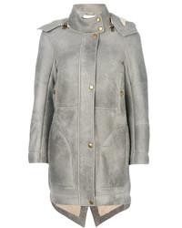 Abrigo de piel de oveja gris