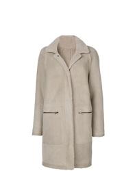 Abrigo de piel de oveja gris de Plume Sprung Fréres