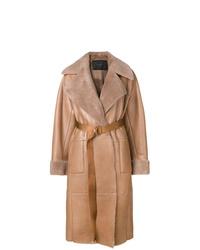 Abrigo de piel de oveja marrón claro de Blancha