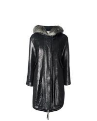 Abrigo de piel de oveja negro de Moncler