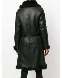 Abrigo de piel de oveja negro de Prada Vintage