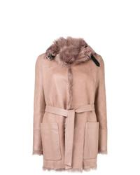 Abrigo de piel de oveja rosado de Belstaff